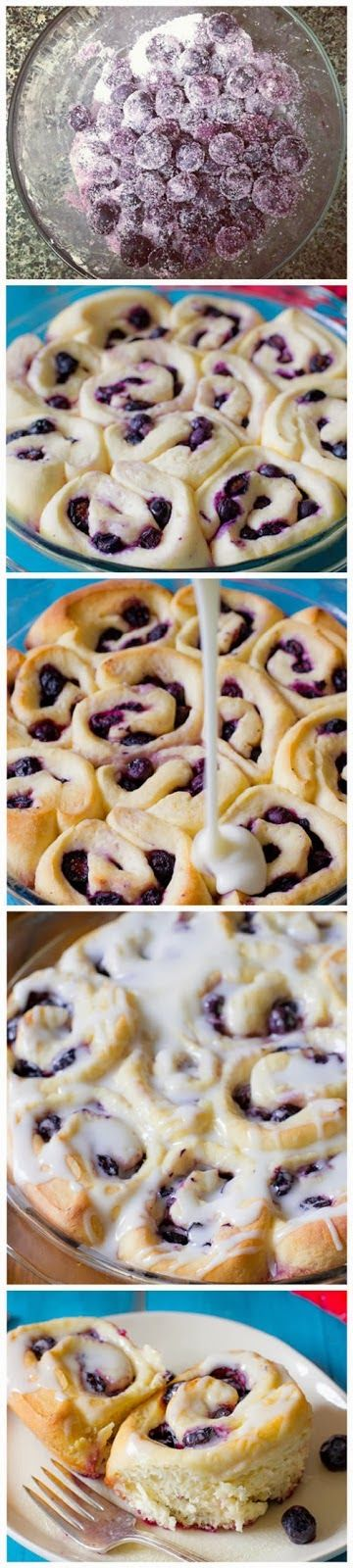Blueberry Sweet Rolls with Lemon Glaze     Ingredients:   ROLLS       2 and 3/4 cups (345g) all-purpose flour  3 Tablespoons granulated s...