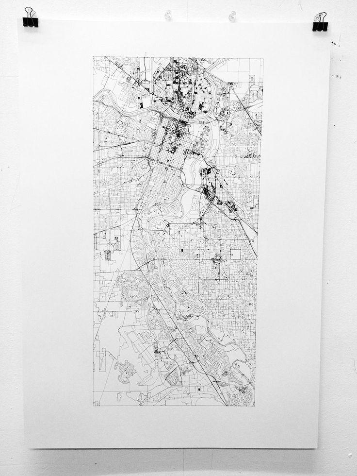 City Map of Sacramento CaliforniaInk on Fine