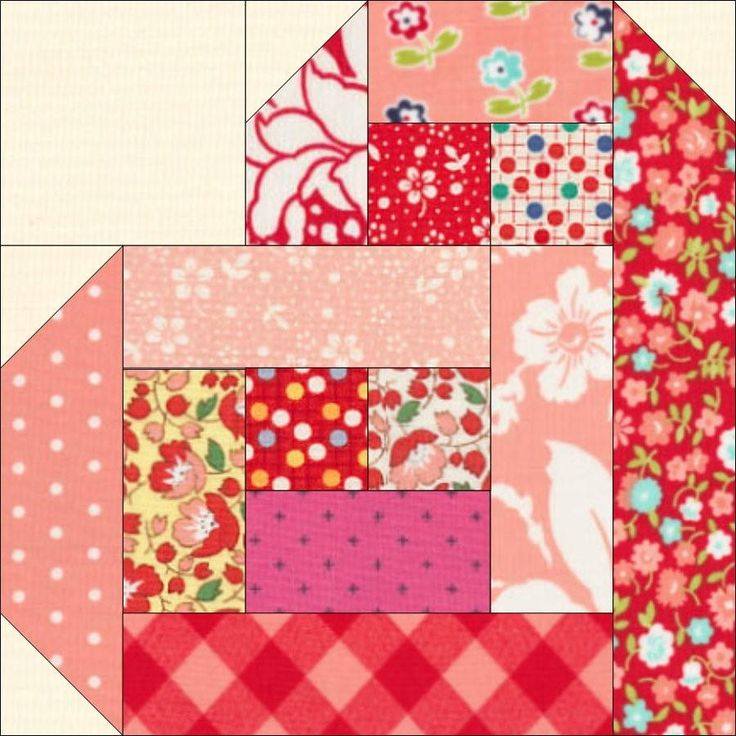 Scrappy Log Cabin Hearts | Combine the classic log cabin block with the traditional heart block for this fun Valentine's Day design!