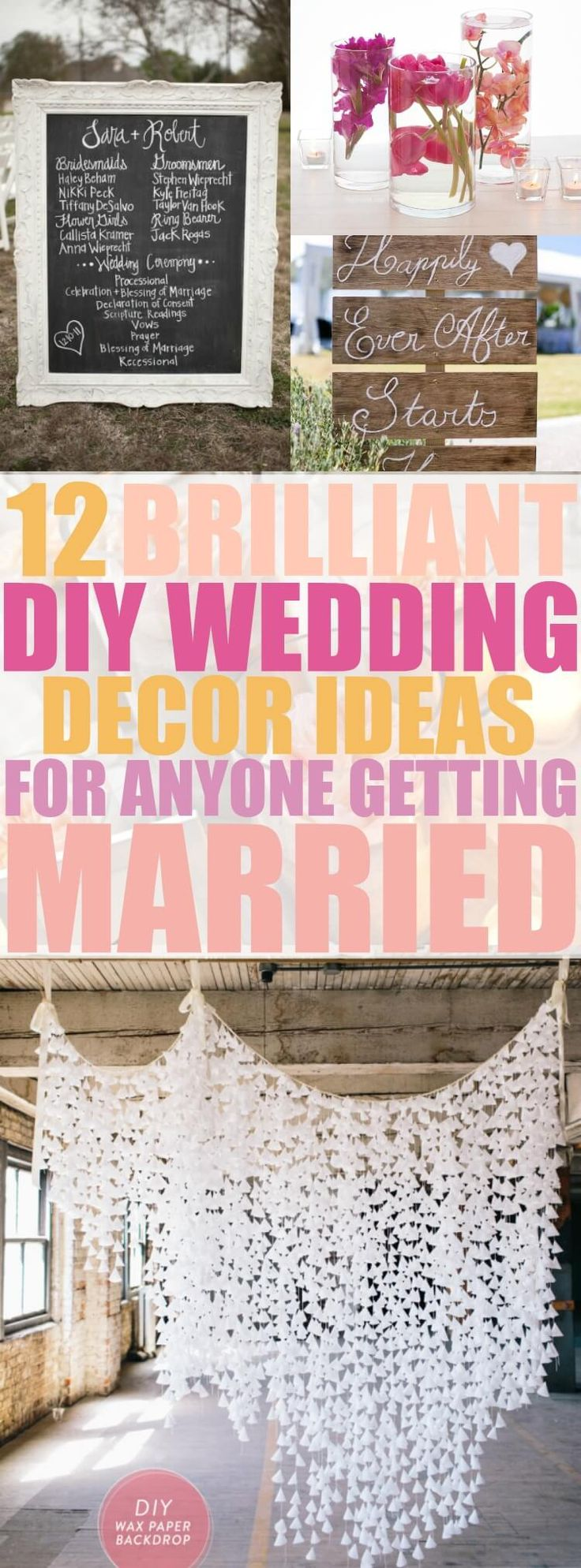 These 12 DIY Wedding Decor ideas are THE BEST! These ideas will make my wedding look BEAUTIFUL without breaking my budget! Pinning this for later!