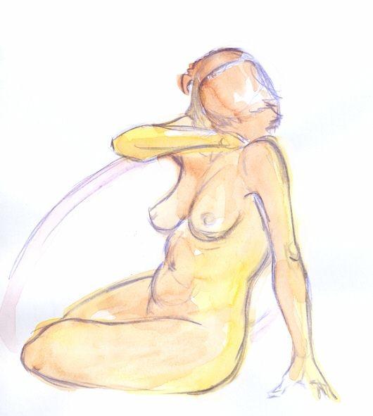 Apunte de desnudo de 10 minutos con color