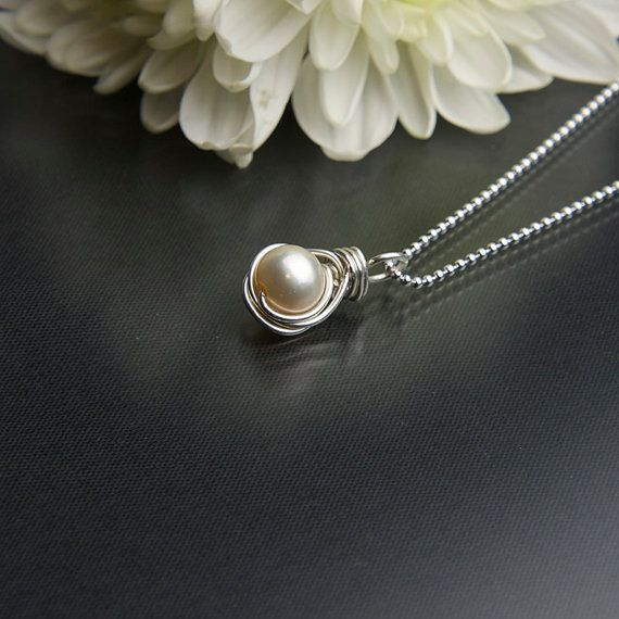 June Birthstone Necklace Creamy Freshwater Pearl Necklace
