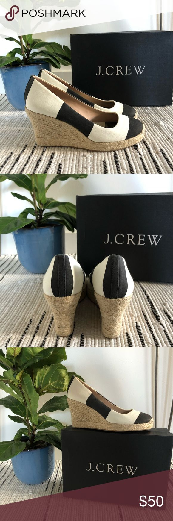 J. CREW SEVILLE STRIPE ESPADRILLES - SZ. 8 J. Crew round toe espadrilles perfect for the summer months. Classic wide stripe canvas upper, jute wedge, leather lining. 3 1/2 inch heel w/ platform for an extra boost. Size 8. Light wear. Original box included. J. Crew Shoes Espadrilles