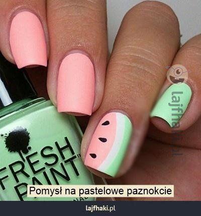 Letni wzorek na paznokciach - Pomysł na pastelowe paznokcie