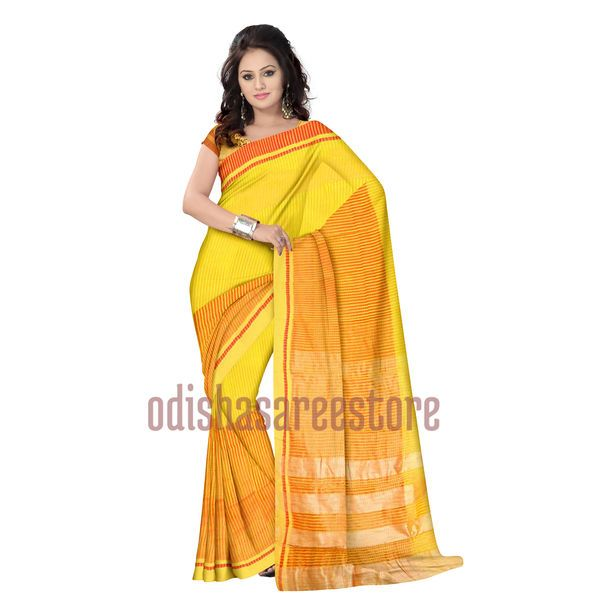 Stunning #partywear silk saree of West Bengal available online. Buy now: http://www.odishasareestore.com/handloom/osswb025-yellow-net-saree-online-shopping/p-5405372-31743458487-cat.html#variant_id=5405372-31743458487