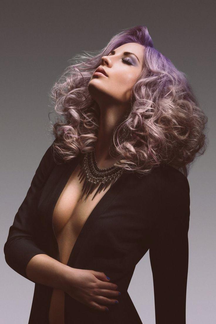 Curly pastel violet blonde hair