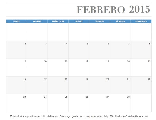 Calendarios imprimibles 2015: descarga e imprime gratis: Calendario Febrero 2015