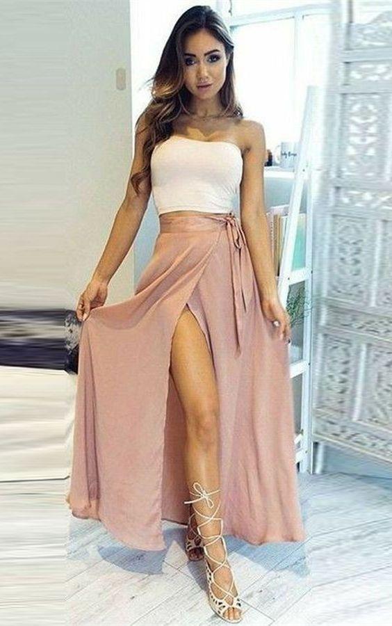 9ed73dd228 A-Line Strapless Split-Side Pink Chiffon Sleeveless Prom Dress in ...