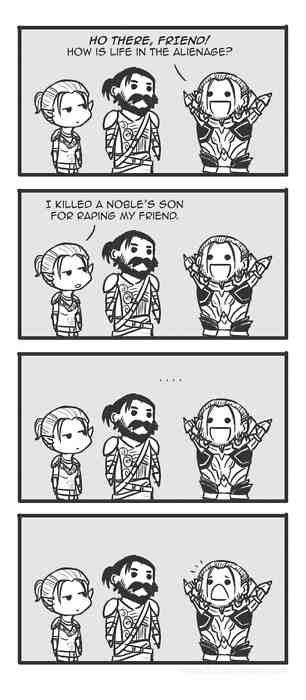 """""""How I got here,"""" Dragon Age Origins. (This was my character's answer too. Sometimes it's fun to be blunt.) : )"""