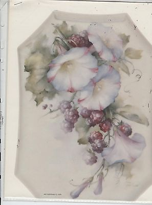 Morning Glories Blackberries by Kay Godshalk China Painting Study 1979 | .