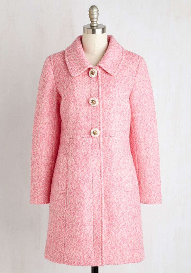 Snowfall in Love Coat in Carnation. Charm in arm with your sweetheart, you insist this colorfully marled coat enhances the enchantment of the falling flurries. #pink #modcloth