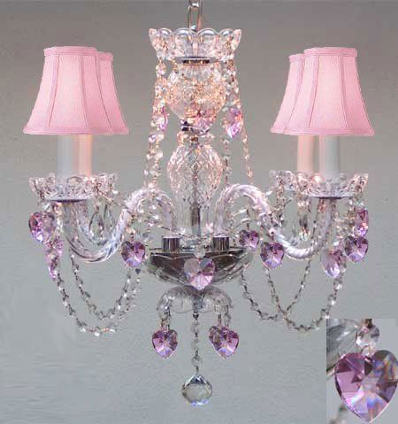 Crystal Chandelier W/ Pink Crystal Hearts U0026 Pink Shades X Plug In Chandelier  W/ Feet Of Hanging Chain And Wire!