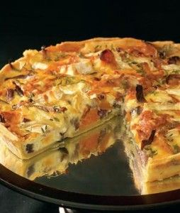 Roasted butternut, red onion and brie quiche with olive [31/7]