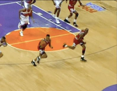 The GOAT on a breakaway after the pass from Scottie Pippen during the NBA Finals in Phoenix.