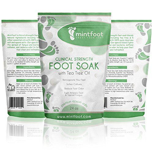 Mintfoot 24oz Clinical Strength Foot Soak with Tea Tree Oil  Epsom Salts  Fights Athletes Foot  Toenail Fungus  Reinvigorate Your Feet * To view further for this item, visit the image link.