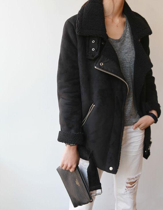 Best 25  Black shearling jacket ideas on Pinterest   Black ...