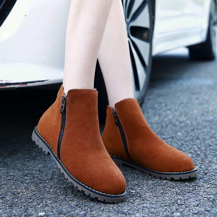 Femmes cheville Bottes de neige 4 couleurs Automne Hiver Chaussures Flock chaud Plus Size Euro Taille 35-42,marron,38