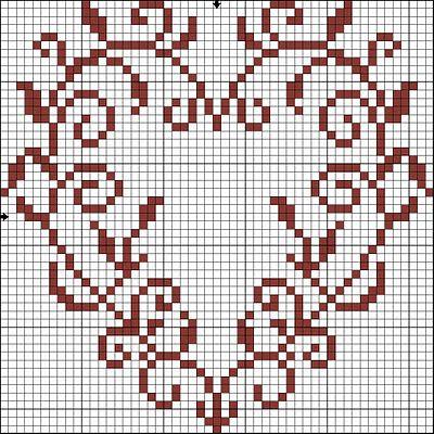 heart cross stitch chart