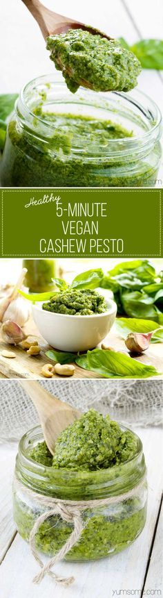 My healthy 5-minute vegan cashew pesto is one of the simplest - and most delicious - things you can make for your pasta. It's also fantastic on baked potatoes, crostini, or even as a dip for chips and other nibbles.