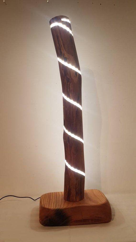 Designer Dekolampe Stehlampe Baumstamm Eiche Massiv Holz ...