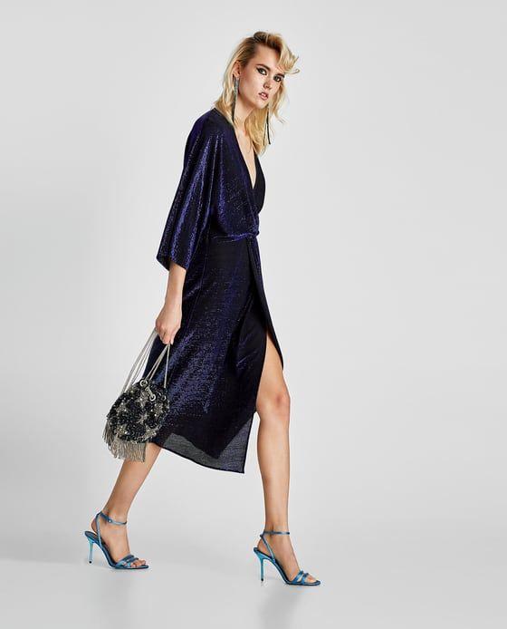 Image 3 of SHIMMERY V-NECK DRESS from Zara
