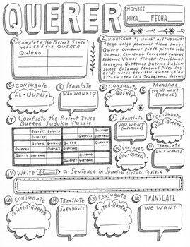Querer Spanish Verb Querer Worksheet Conjugation Translation No