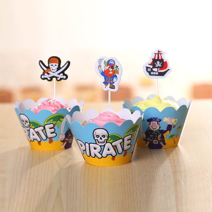 Pirate Cupcake Wrappers Kids Birthday Party Decorations