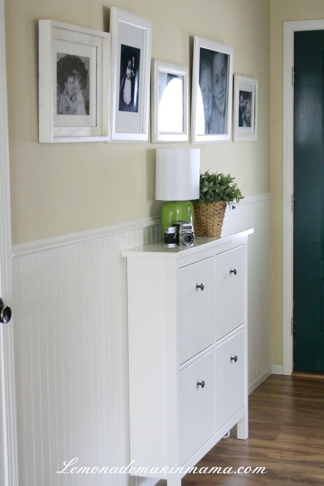 IKEA HEMNES shoe cabinet, small lamp (we have that!) and some b/w photos to dress up our very small entryway AND make it more functional! --- I love the beadboard and used to have it in my old house but not sure if it goes with the new house??