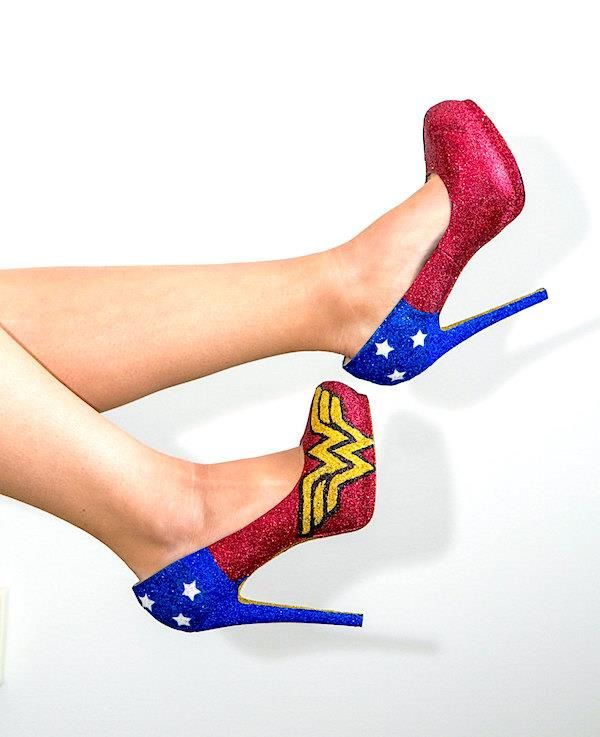 Glittery Wonder Woman themed shoes.