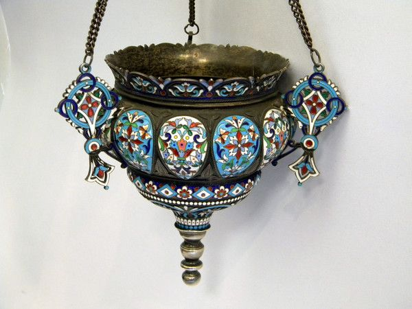 ANTIQUE RUSSIAN SILVER & ENAMEL LAMP / INCENSE HOLDER c. 1890 N. ANTIPOV (Russia)