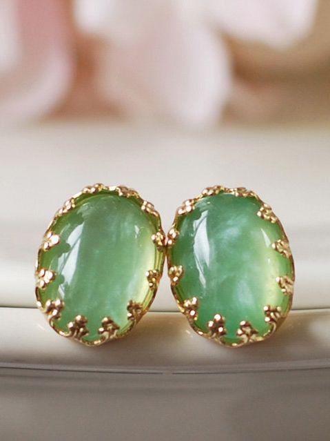 Mint Green Gold Lace Crown Post Earrings