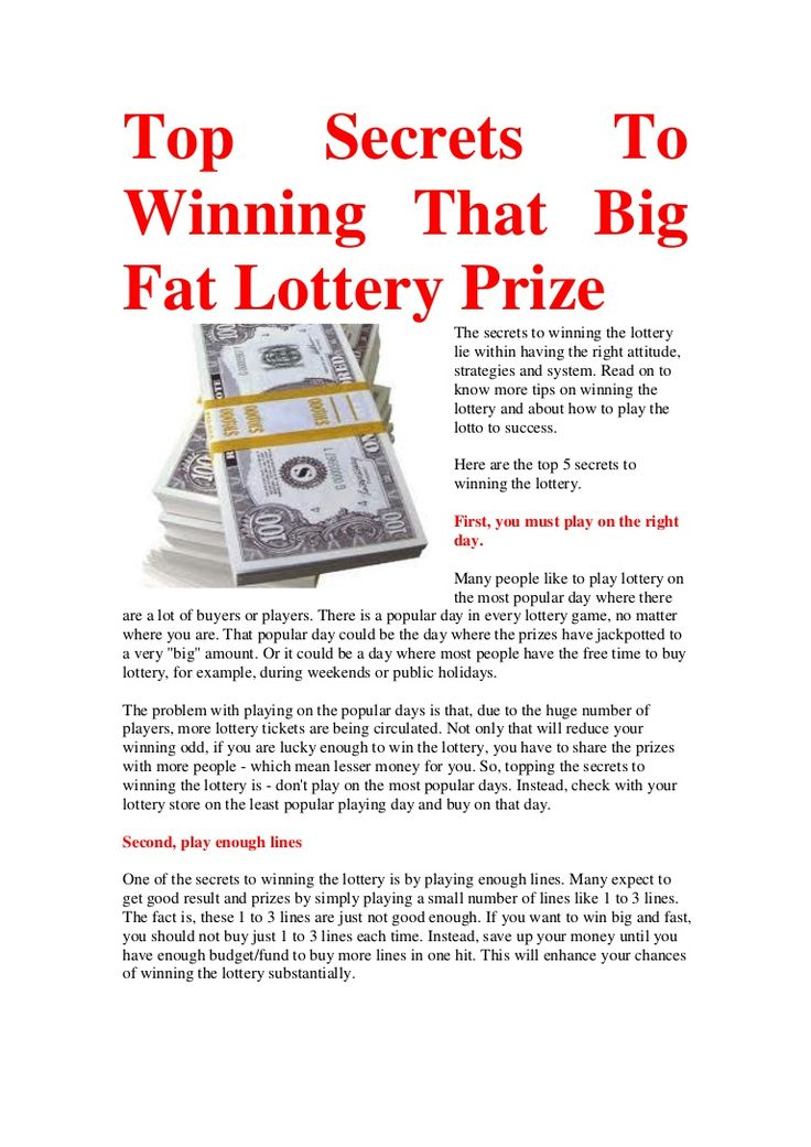 The secrets to winning the lottery lie within having the right attitude, strategies and system. Read on to know more tips on winning the lottery and about how to play the lotto to success.