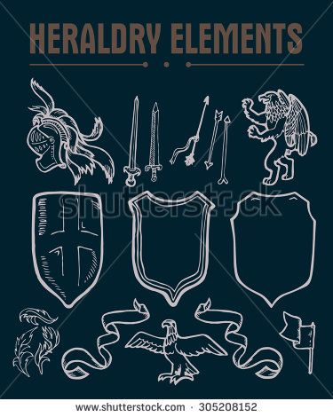 Heraldry emblem collection. Coat of arms template. - stock photo