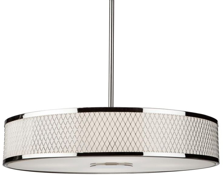 White Drum Chandelier With Chrome Four Light Interior Opal Glass Shade Pendant