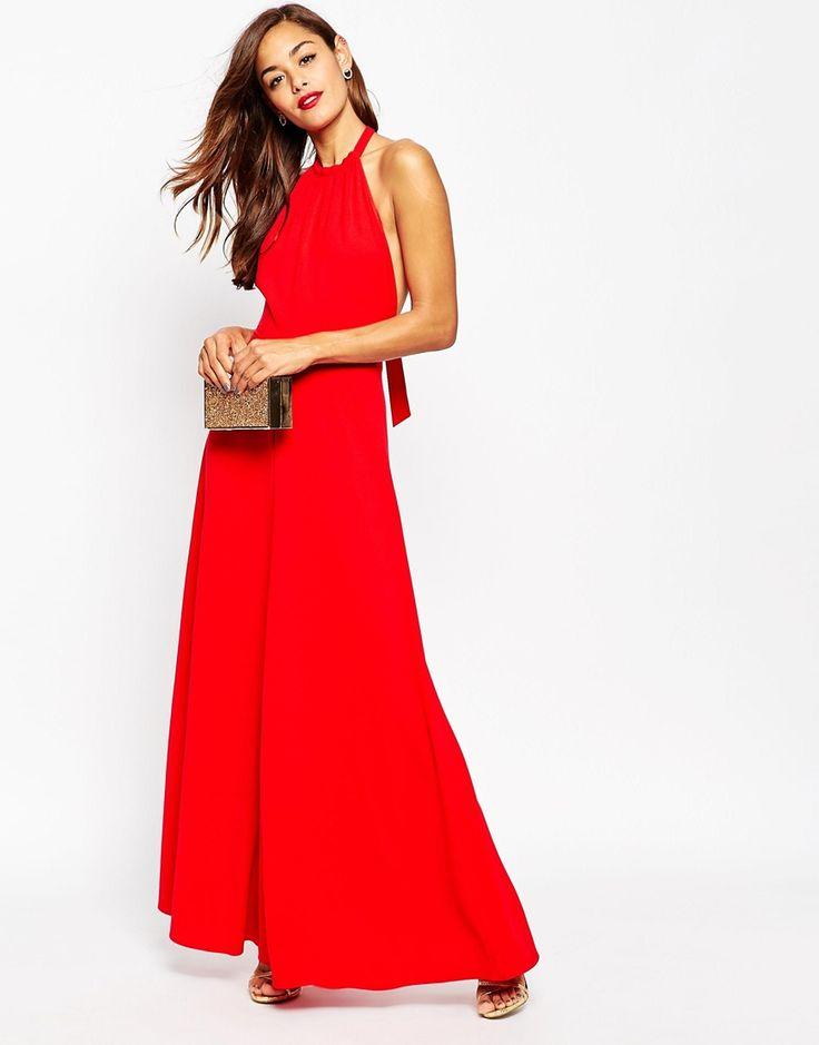 Image 4 ofASOS Halter Neck Maxi Dress