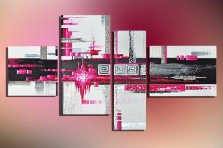 """Bilderdepot24 """"art abstrait M3"""" tableau peinture, sur toile, peint à la main, 120x70cm ensemble de 4 pièces 3007: Amazon.fr: Cuisine & Maiso..."""