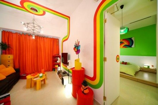 Retro-Home-Decor-Ideas-With-Colorfull-Paint-: Rainbows Houses, Colors Rooms, Colors Bedrooms, Apartment Design, High Ceilings, Retro Style, Hidden Rooms, Bright Colors, Rainbows Rooms