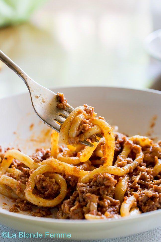 Pici al ragù - Typical Tuscan pasta with goooorgeus meat sauce