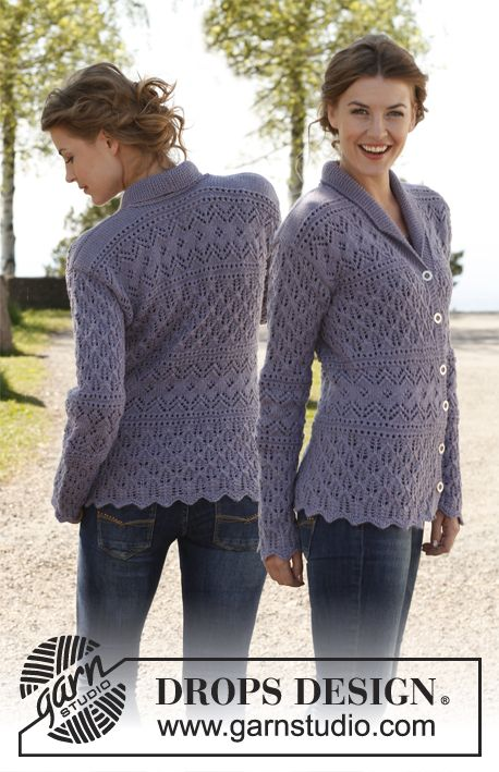 Knitting Pattern For Fitted Jacket : Free pattern: Knitted DROPS fitted jacket with lace pattern and shawl collar ...