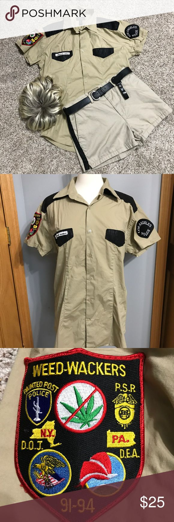 """Reno 911 Lt. Dangle Costume Large stretch Tan Shirt with added embellishments, size 32 waist chino shorts with stripes at sides and belt, inseam 3"""". Wig included. Go to your fav Halloween shop and pick up aviators, a badge and maybe a fake gun and flashlight. Then you are set! Other"""
