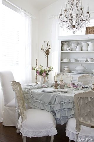 How wouldn't want to eat at this beautiful table?  The chandelier, chairs, ruffles, flowers - sumptuous!: Decor, Dining Rooms, Idea, Style, Tablecloth, Shabby Chic, White, Shabbychic