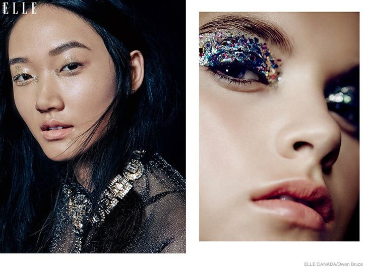Emma & Ashley Model Glittery Holiday Makeup Looks in Elle Canada