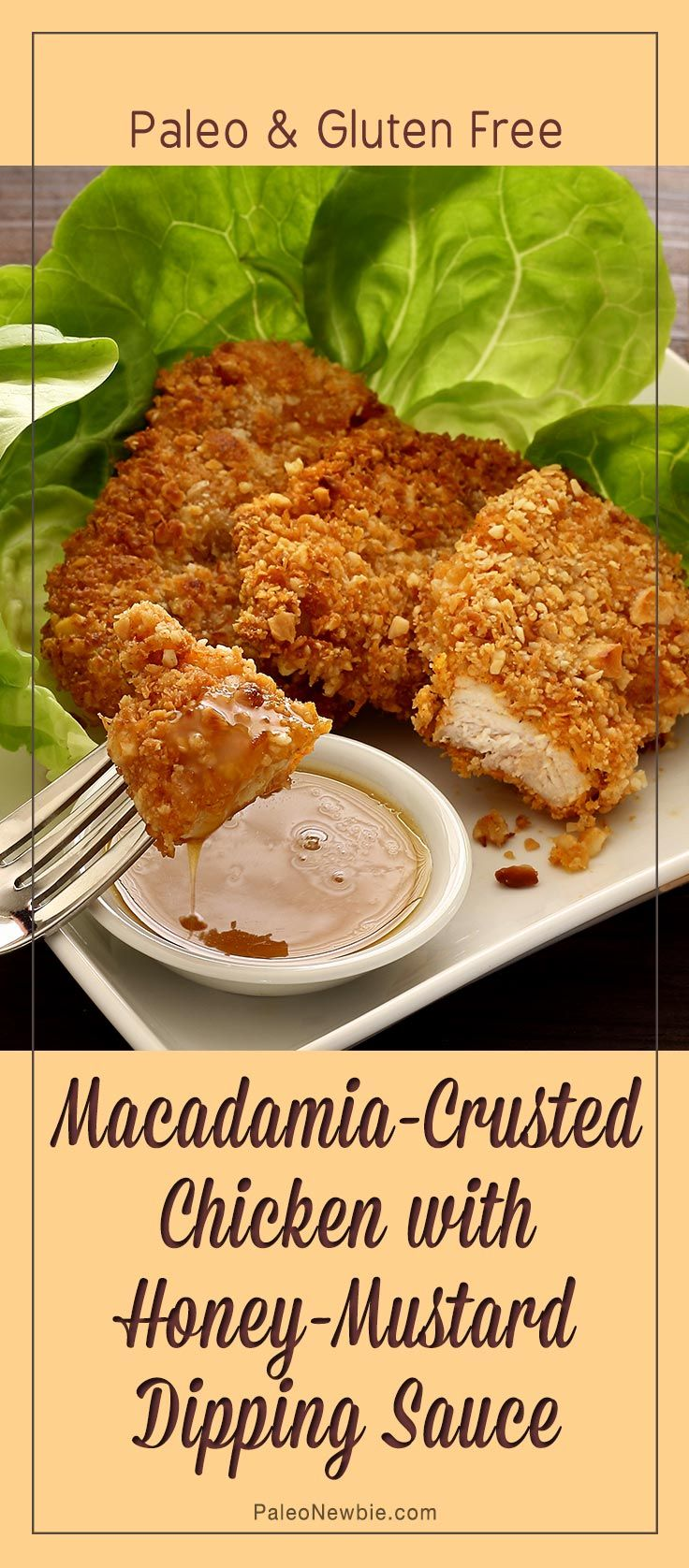 Hot out of the skillet chicken made healthy and simple with a crunchy macadamia crust and a super-easy honey-mustard sauce. #paleo #glutenfree