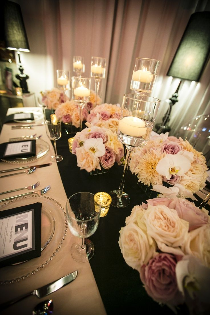 blush centerpieces | black and blush wedding table, blush and cream centerpiece |love the colors/lighting