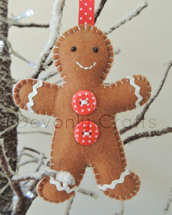 Gingerbread Man Felt Christmas Decoration x1 by DevonlyCrafts, £7.50