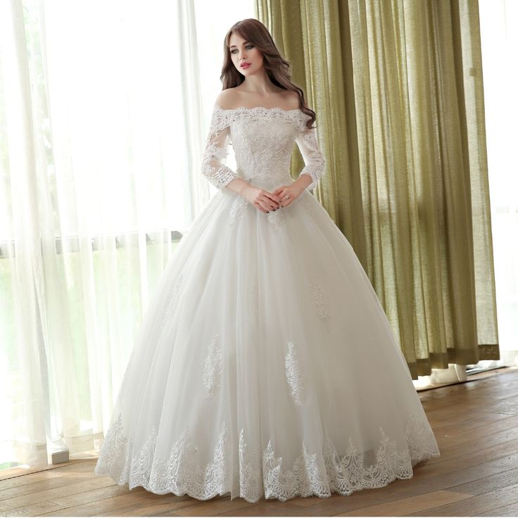 sleeve muslim wedding dress 2016 princess bride simple bridal gown real photo wedding-dress long weding weeding vestido de noiva