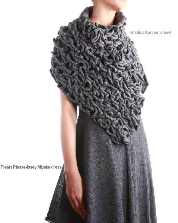 Pleats Please-Issey Miyake dress, Kristiina Karinen shawl