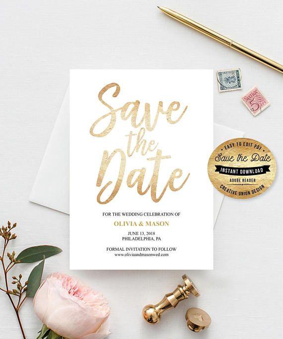 Save the Date Ideas - Save The Date Card - Editable Printable Save The Date Template - Wedding Ideas - DIY Save The Date - Wedding Save The Date Card by CreativeUnionDesign.Etsy.com #savethedate #wedding #weddingideas #weddingtrends