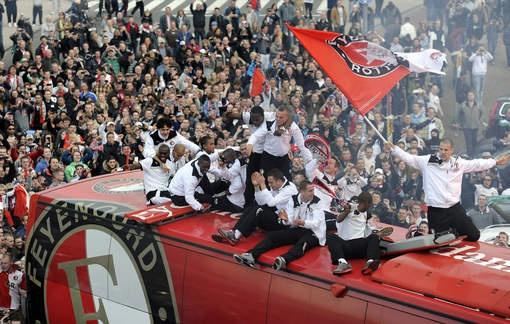 Feyenoord celebrates their second place in the Dutch Eredivisie.