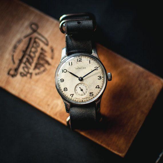 Original white watch Pobeda, soviet mechanical watch, 50s watch, ussr russian watch, casual watch, womens watch, ladies watch